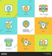 Set Vector Flat Travel Icons. Map & Bigstock
