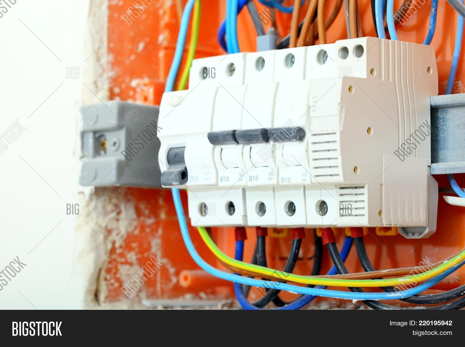 hight resolution of electrical installation close up electrical panel electricity distribution box with wires fuses and contactors