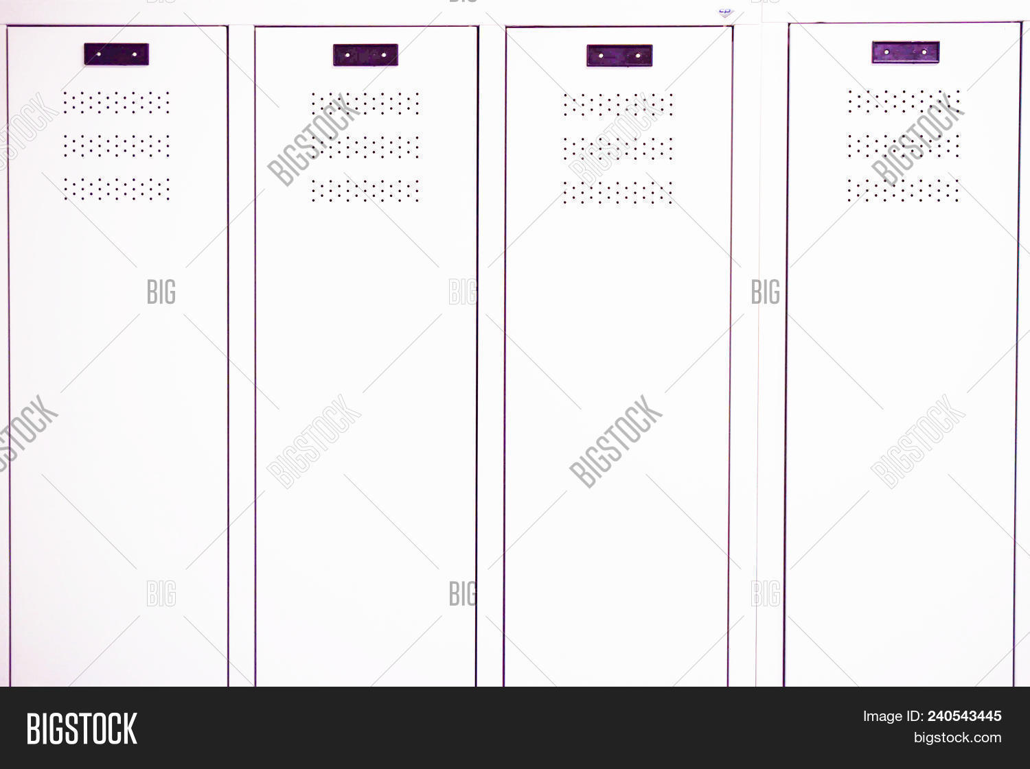 hight resolution of white lockers in a gym locker room at school or university