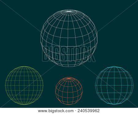 sphere wireframe set vector