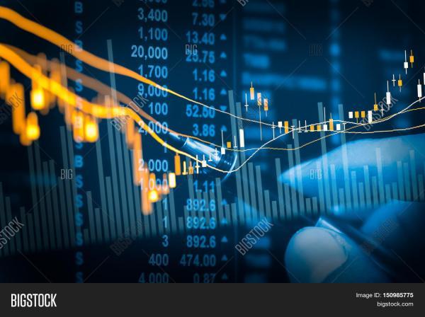 Financial Stock Market Data. Candle & Bigstock