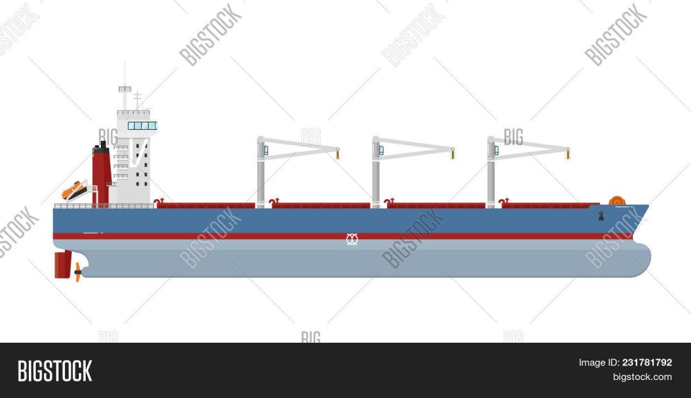 medium resolution of cargo ship with cranes isolated on white background illustration freight tanker side view commerci