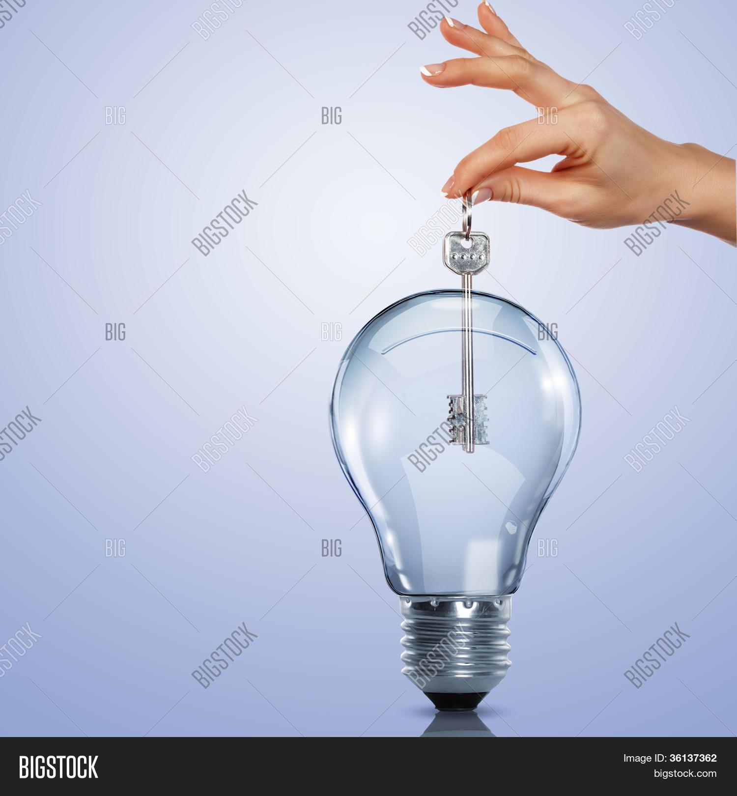 key inside light bulb