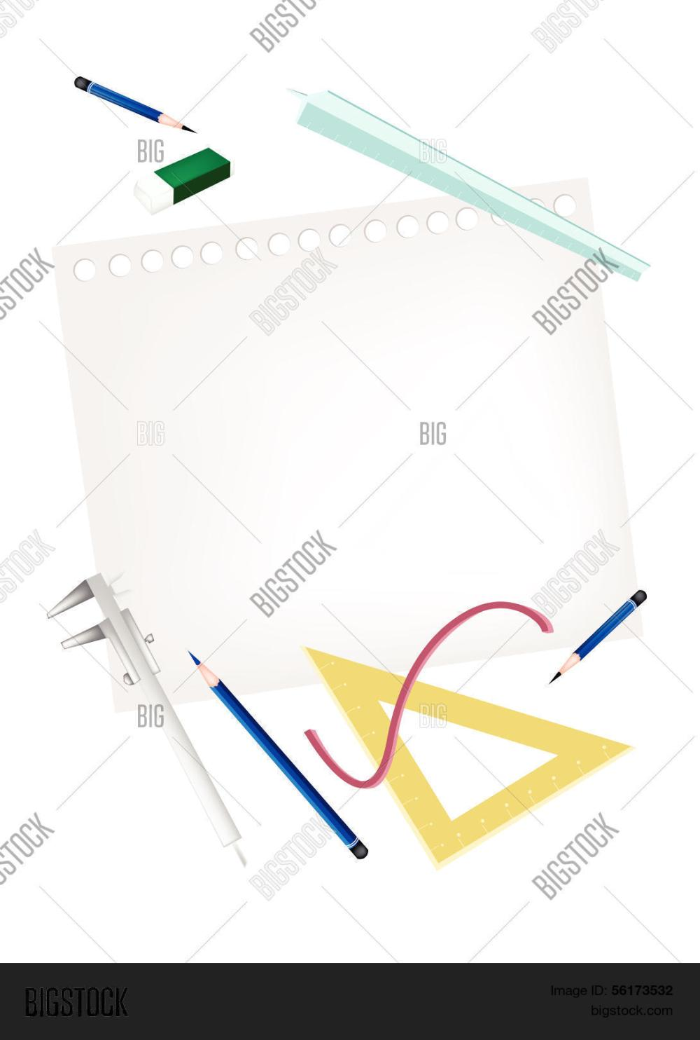 medium resolution of pencil and caliper with rulers and eraser on blank page