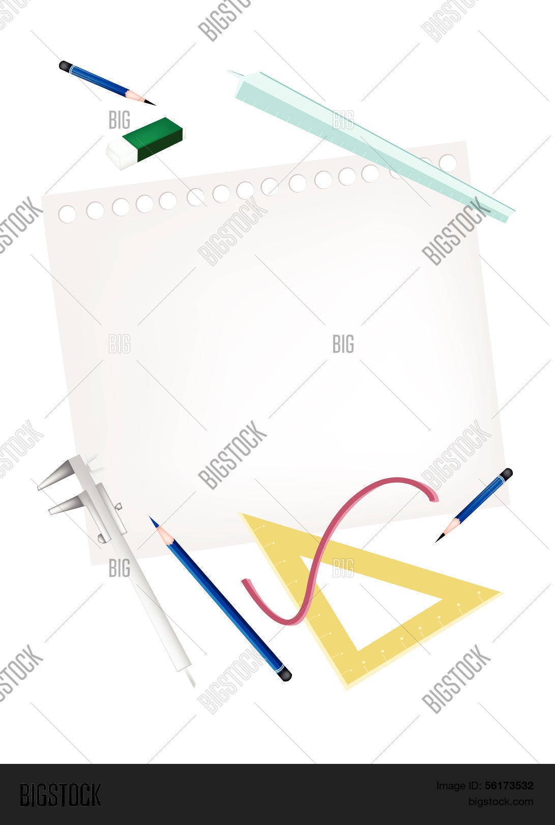 hight resolution of pencil and caliper with rulers and eraser on blank page