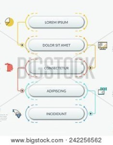 Vertical flowchart with connected rounded elements thin line symbols and text boxes hierarchical also vector  photo free trial bigstock rh bigstockphoto