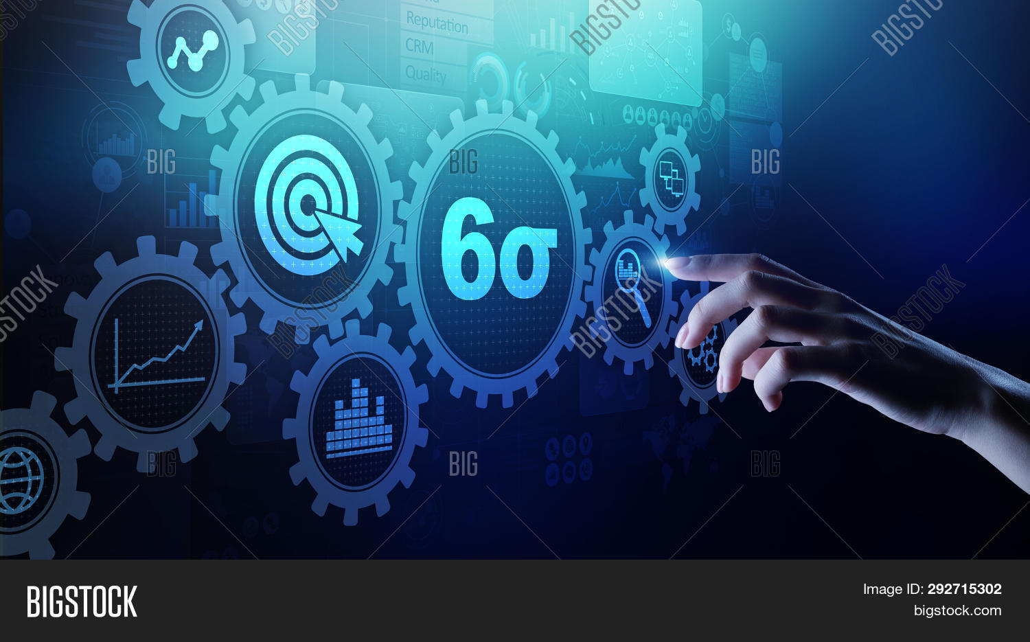 hight resolution of six sigma dmaic industrial process optimisation concept on virtual screen