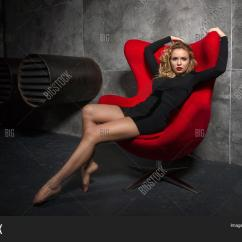 Red Heel Chair Flexible Love Uk Beautiful Blonde Girl Image And Photo Free Trial Bigstock