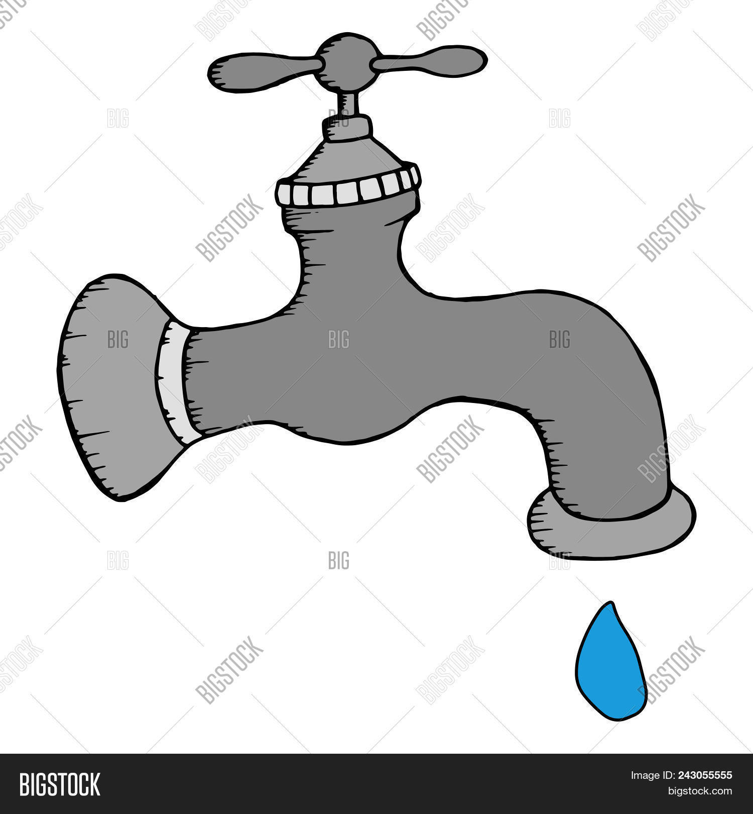 hight resolution of gray water tap with a drop of water vector illustration water tap with a drop