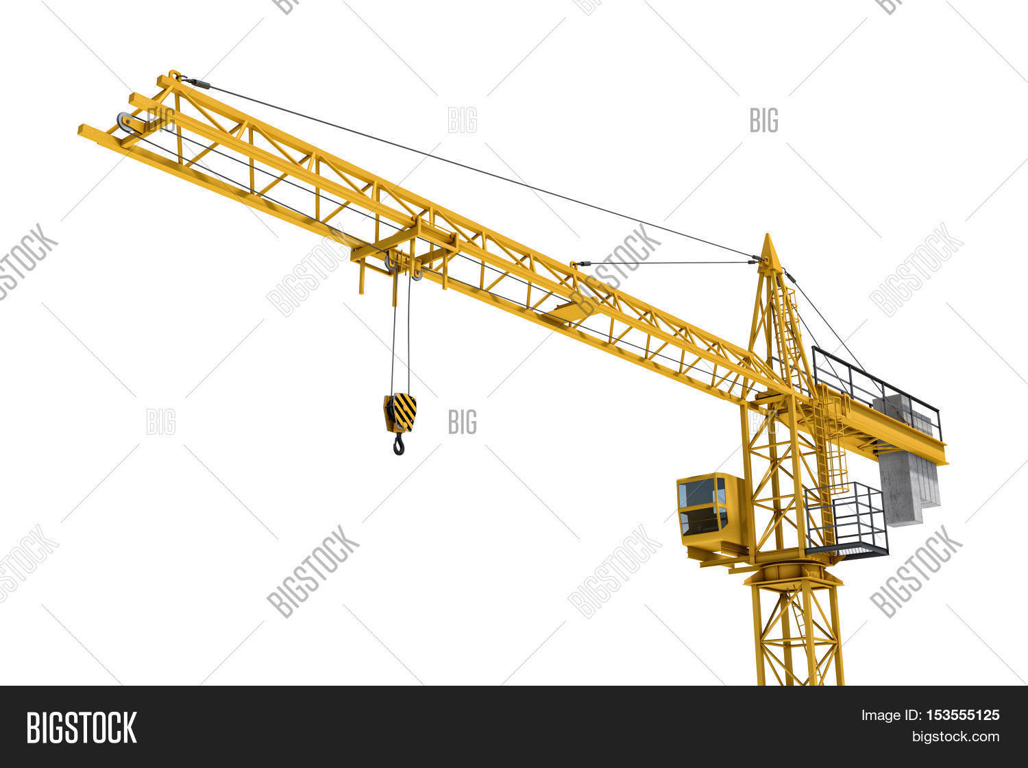 hight resolution of 3d rendering of a yellow construction crane isolated on a white background construction tower