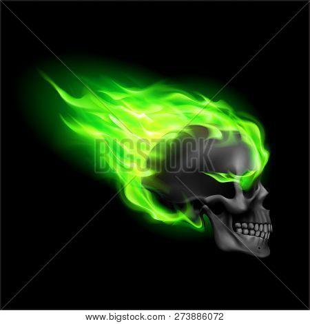 black skull on green