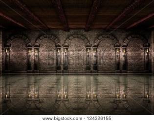 castle dark hall medieval columns lightbox