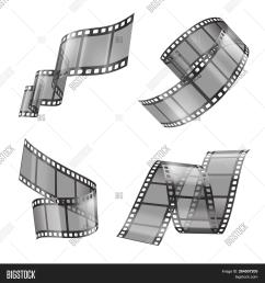 realistic set of film strip movie or photo tape curved fragments empty and [ 1500 x 1620 Pixel ]