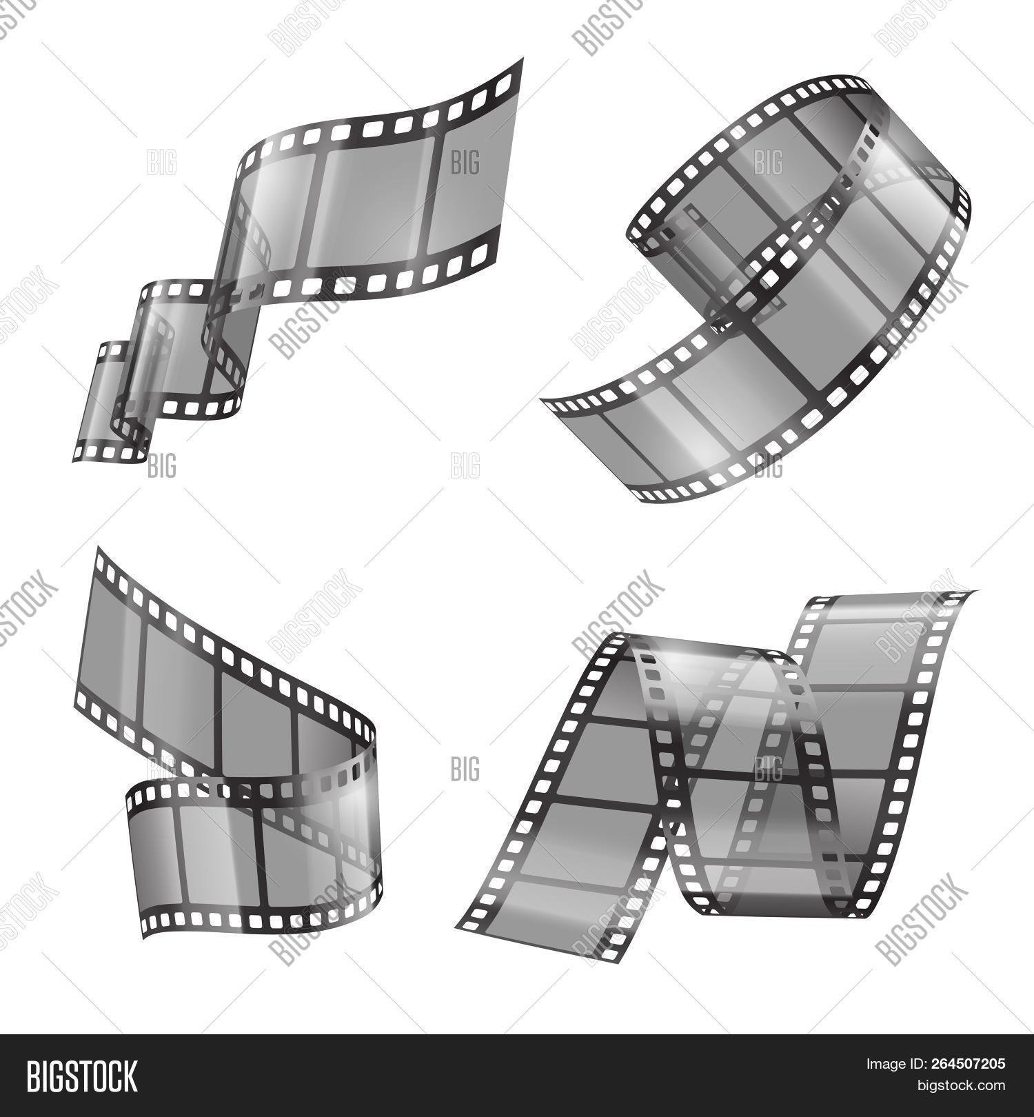 hight resolution of realistic set of film strip movie or photo tape curved fragments empty and