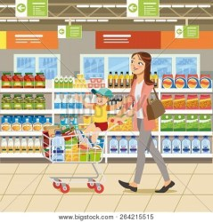 Family Shopping Vector & Photo Free Trial Bigstock