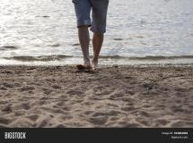 Man Walking Barefoot Beach Summer & Bigstock