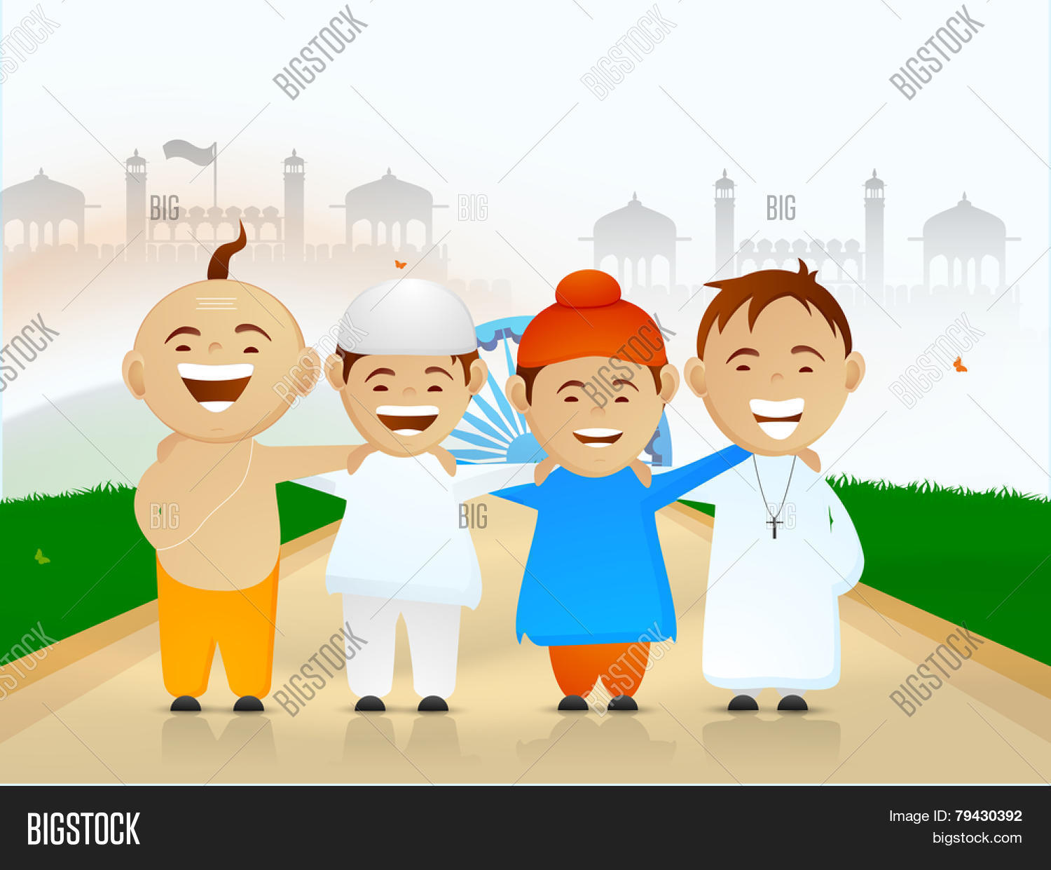 Democratic India Cute Little Kids Vector Amp Photo