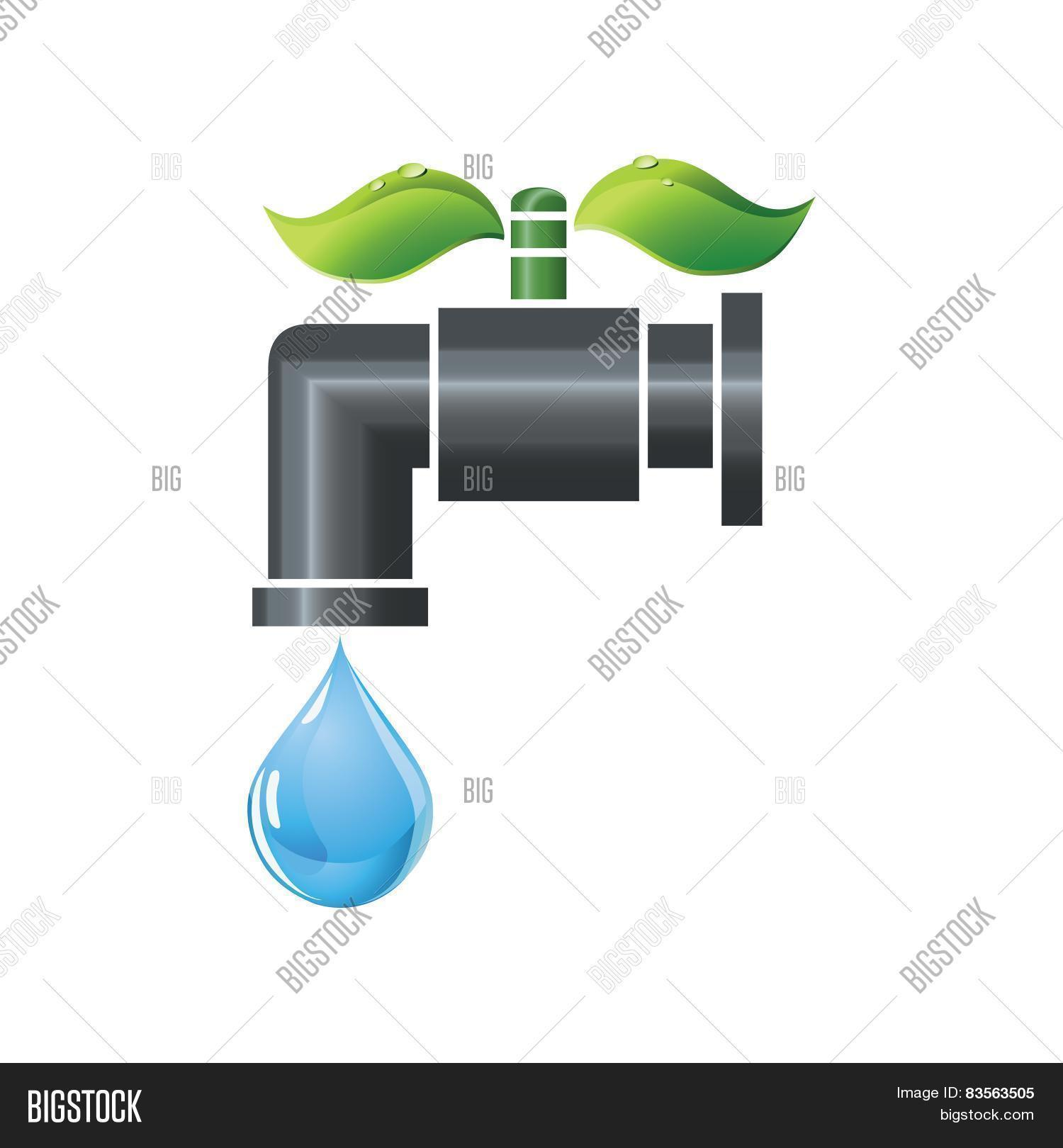 hight resolution of water tap or faucet with droplet and green leaves