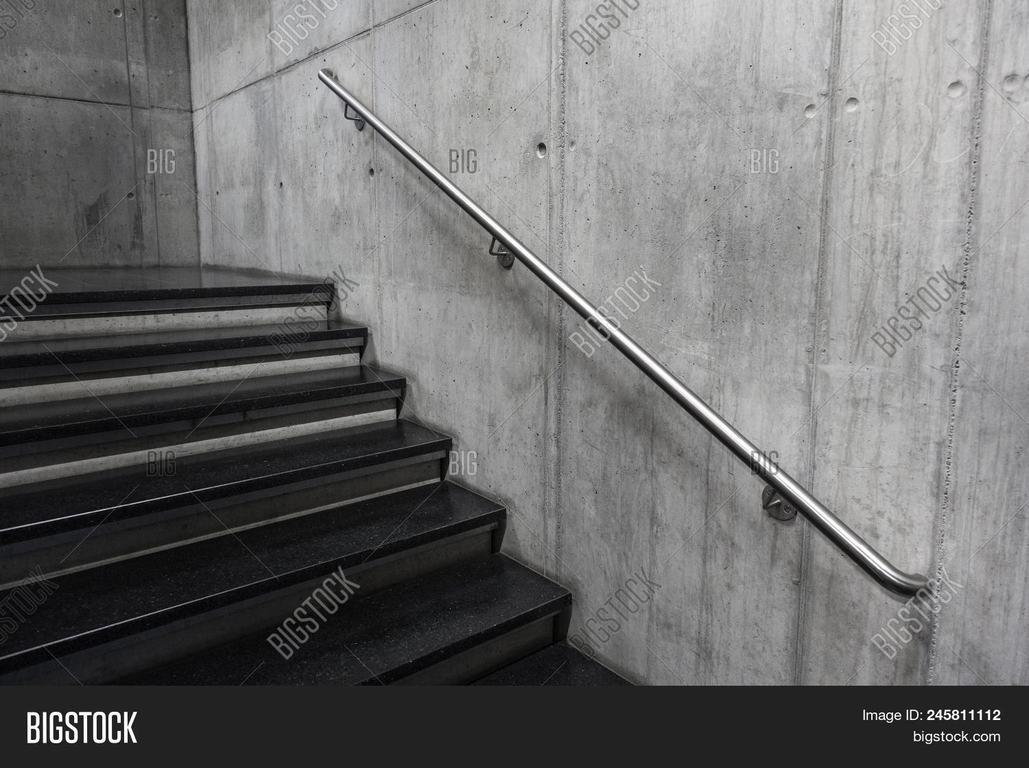 Modern Staircase Image Photo Free Trial Bigstock | Building A Handrail For Concrete Stairs | Deck Railing | Deck | Steel Handrail | Porch | Outdoor Stair