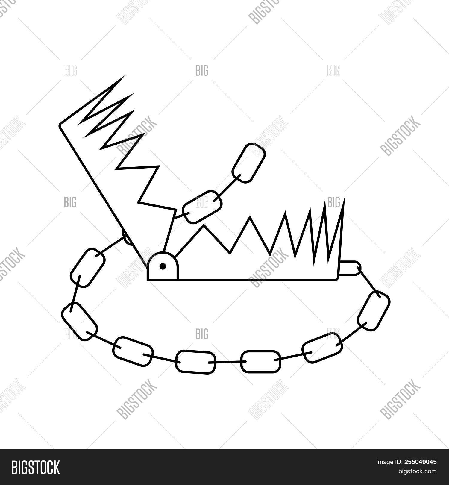 hight resolution of icon of bear hunting trap thin line design vector illustration