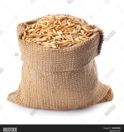 grain oats with husk in burlap bag isolate on white background uncooked oat grains with [ 1461 x 1620 Pixel ]