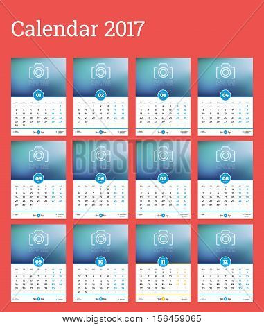 wallpapers 2017 Poster Calendar Template bigstock