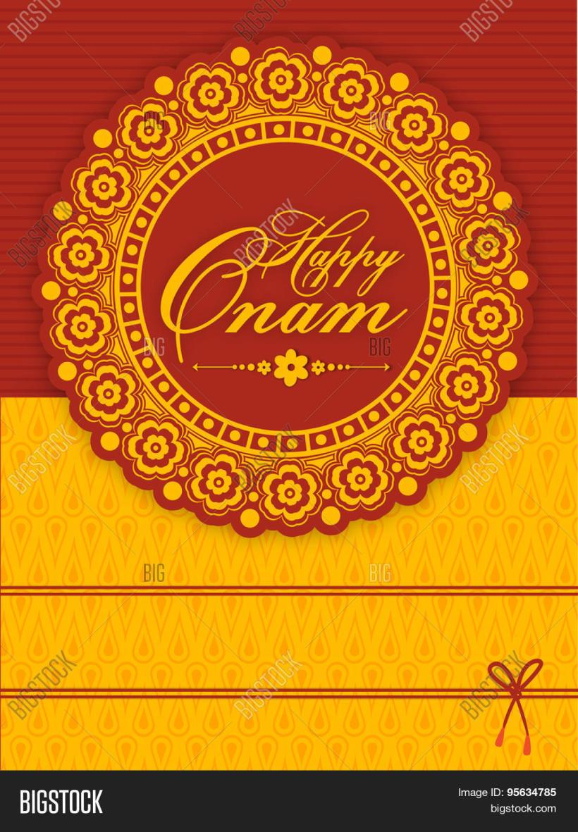 Beautiful Fl Design Decorated Greeting Or Invitation Card For South Indian Famous Festival Happy Onam