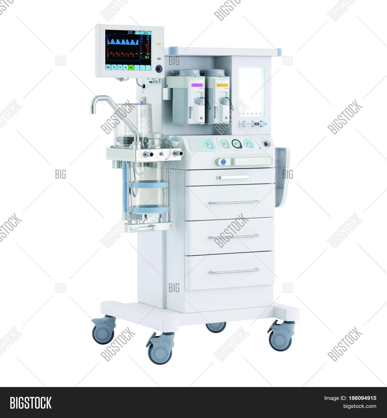 hight resolution of anaesthetic machine and patient monitoring system isolated on white anaesthesia workstation with th