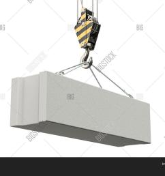 crane hook with foundation concrete block 3d rendering isolated on white background [ 1500 x 1120 Pixel ]