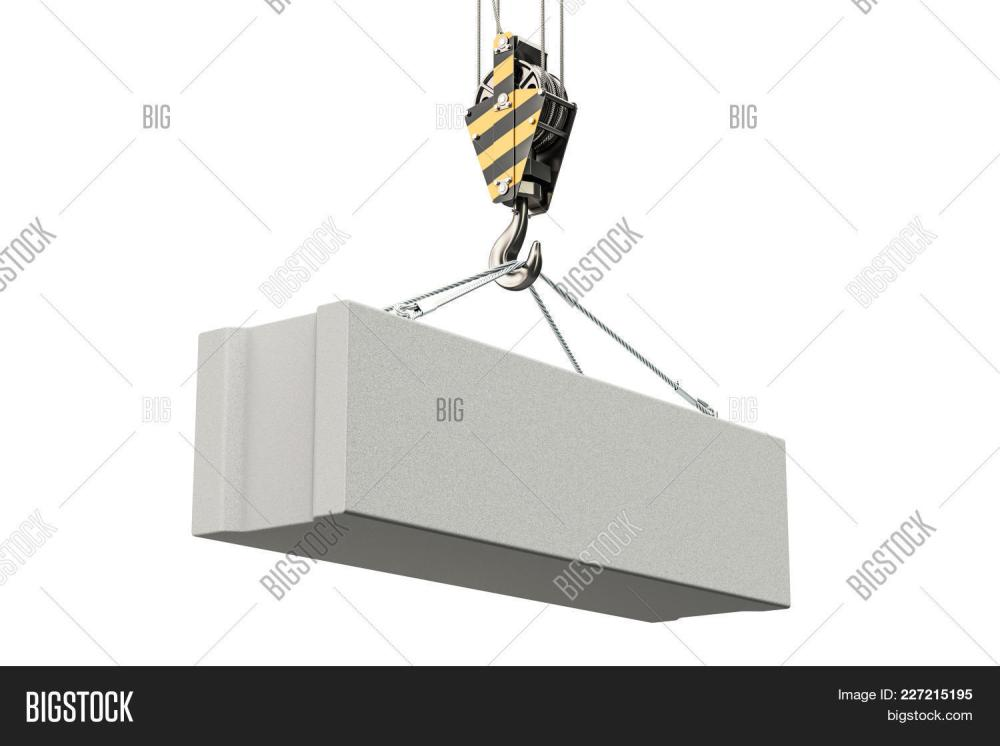 medium resolution of crane hook with foundation concrete block 3d rendering isolated on white background