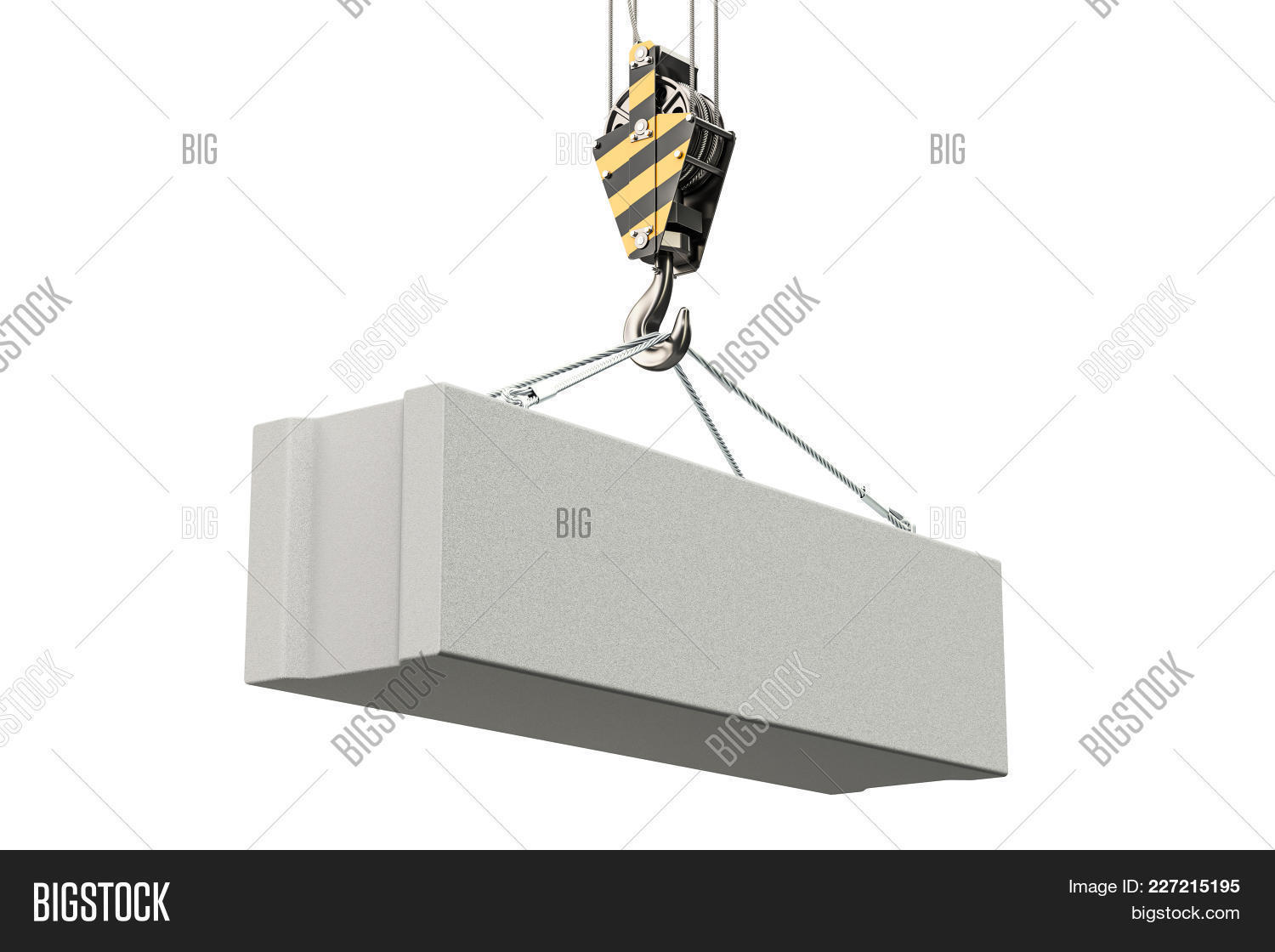 hight resolution of crane hook with foundation concrete block 3d rendering isolated on white background