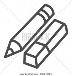 Eraser Pencil Line Vector & Photo Free Trial Bigstock