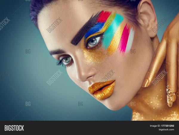 Fashion Model Girl Colored Face & Bigstock