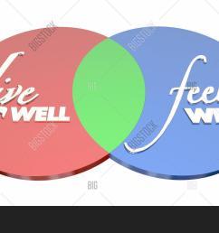 live well feel well healthy lifestyle venn diagram 3d illustration [ 1500 x 1033 Pixel ]