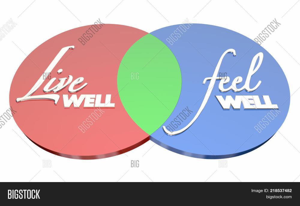 medium resolution of live well feel well healthy lifestyle venn diagram 3d illustration
