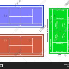 Measurement Of Tennis Court With Diagram Wiring For Electric Underfloor Heating Exact Scale Vector Illustration And Photo Bigstock