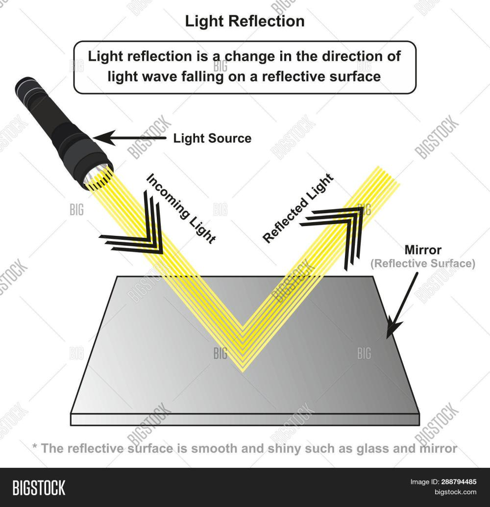 medium resolution of light reflection infographic diagram with example of light source where incoming rays reflected on a smooth