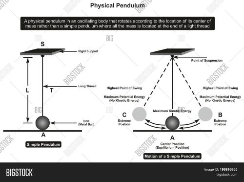 small resolution of physical pendulum infographic diagram showing its parts and motion including rigid support thread bob point of