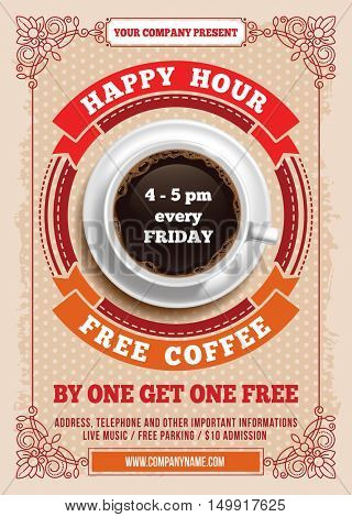 Happy Hour Free Coffee Vintage Ilration Template For Web Poster Flyer
