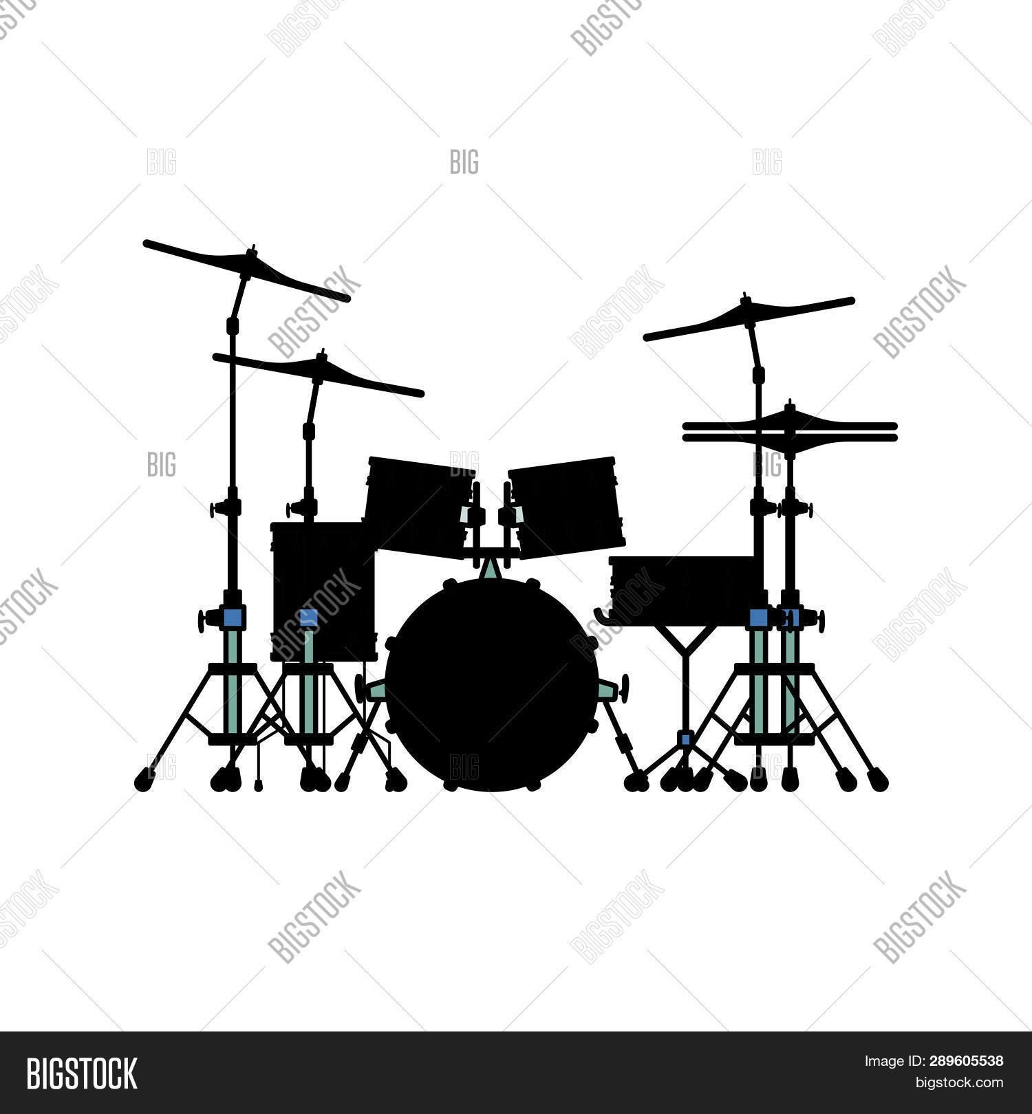hight resolution of drum set icon flat color design vector illustration
