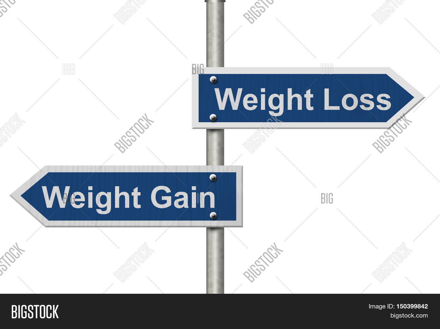 weight loss versus gain two blue road sign with text