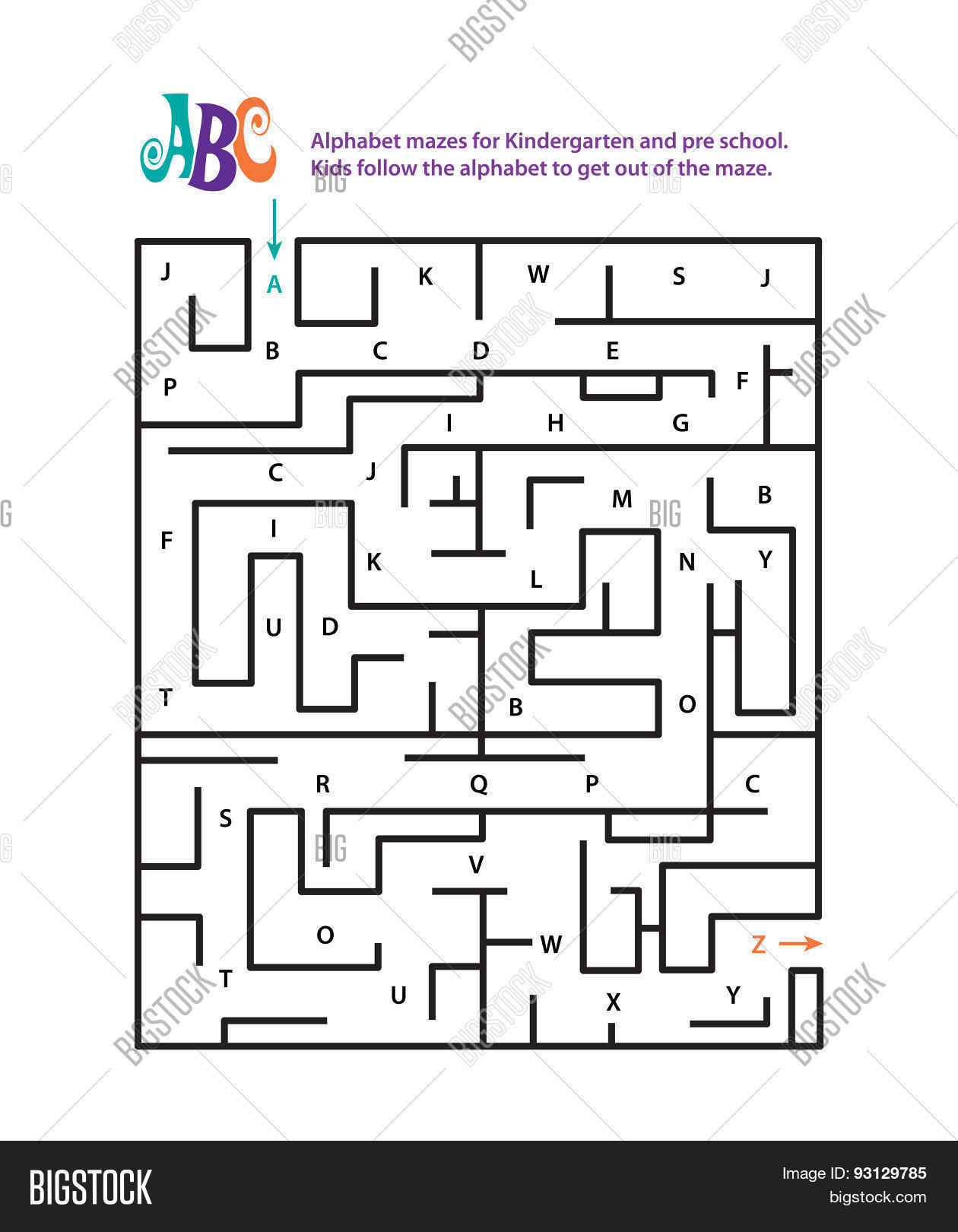 Alphabet Mazes Kindergarten Pre Vector Amp Photo