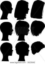 female silhouette heads & hair