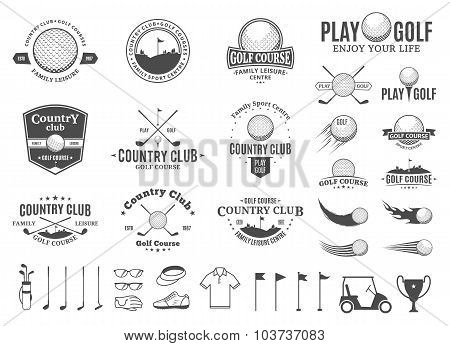 Golf Country Club Labels, Icons And Design Elements Poster