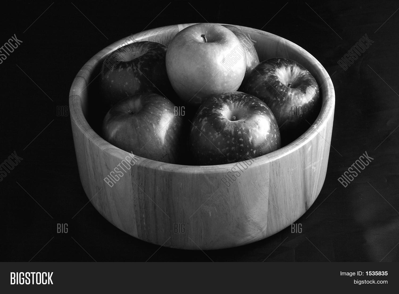Bowl Fruit Black White Image & Photo