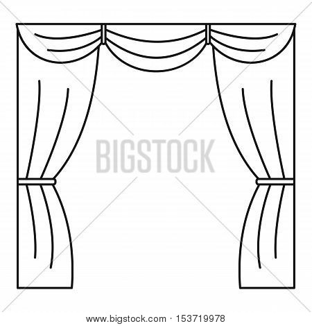 Curtain on stage icon. Outline illustration of curtain on