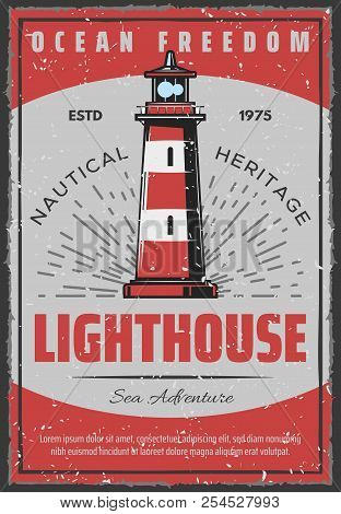 lighthouse retro poster for