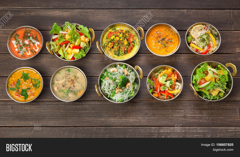 Vegan Vegetarian Restaurant Dishes Image & Photo | Bigstock