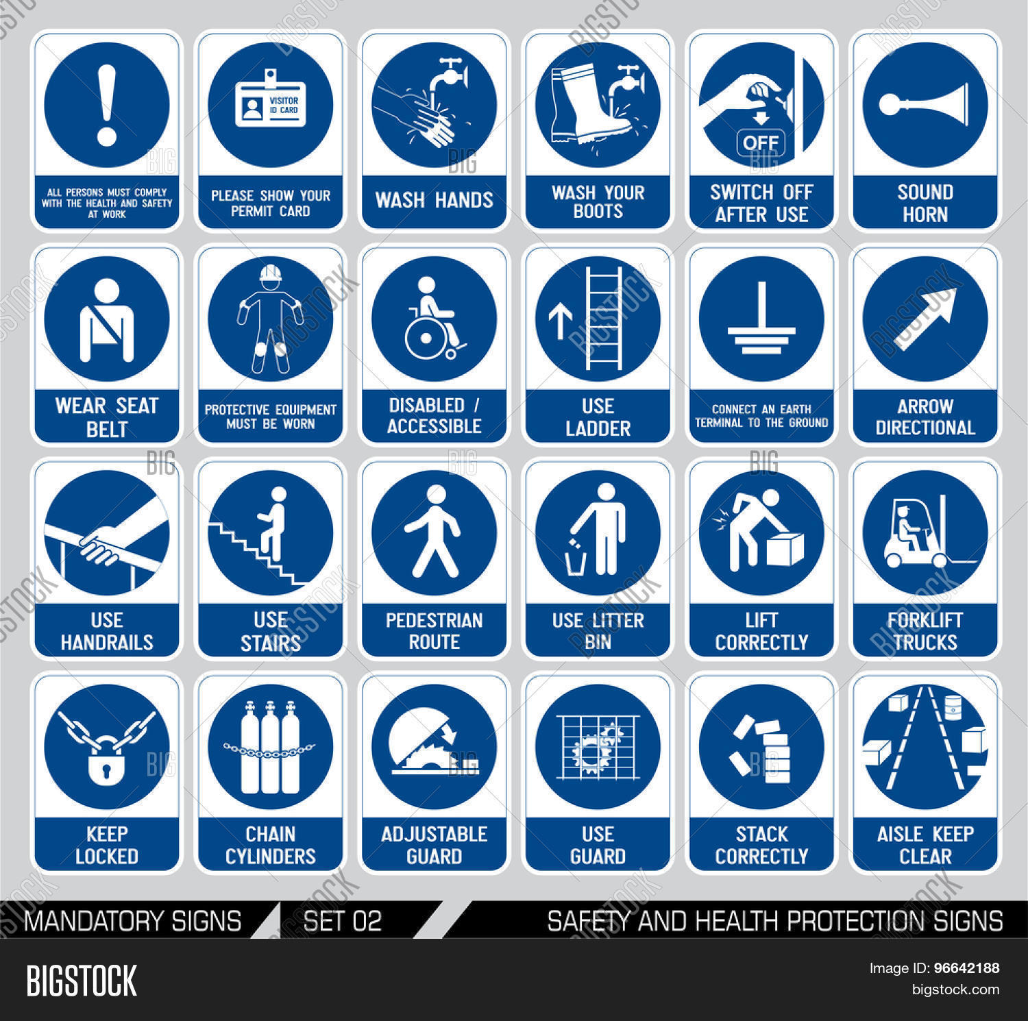 Set Safety Health Protection Signs Vector Amp Photo