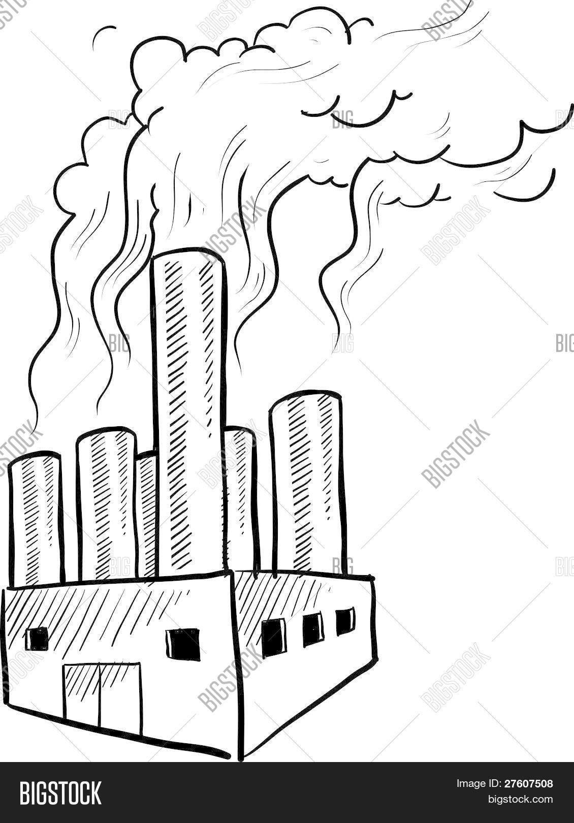Factory Pollution Sketch Vector Amp Photo